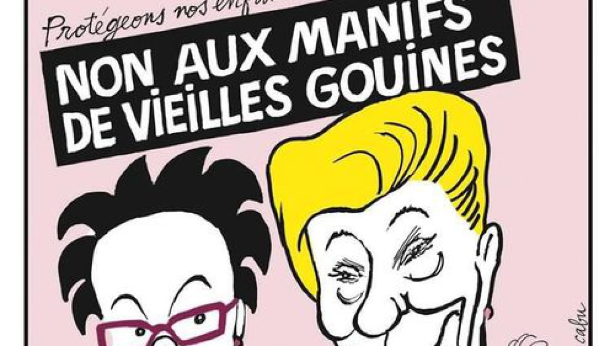 One of Charlie Hebdo's cover about lesbianism who can be seen as homophobic - but who is actually making fun of promeinent french political leaders who are against gay marriage.